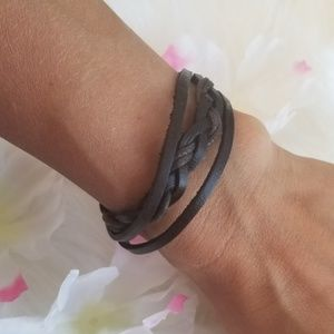 Dark brown braided faux leather bracelet